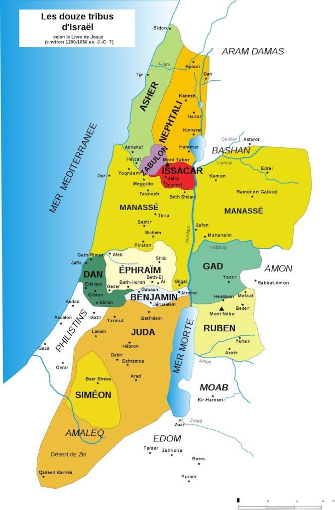 carte 12 tribus israel canaan